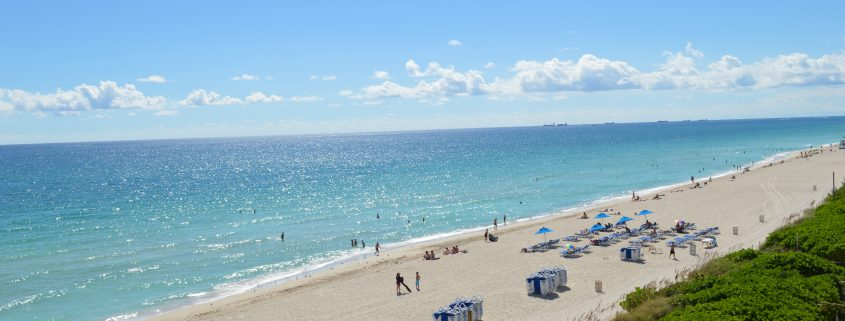 View of Miami Beach from the balcony of one of the rooms of the Deauivlle Beach Resort
