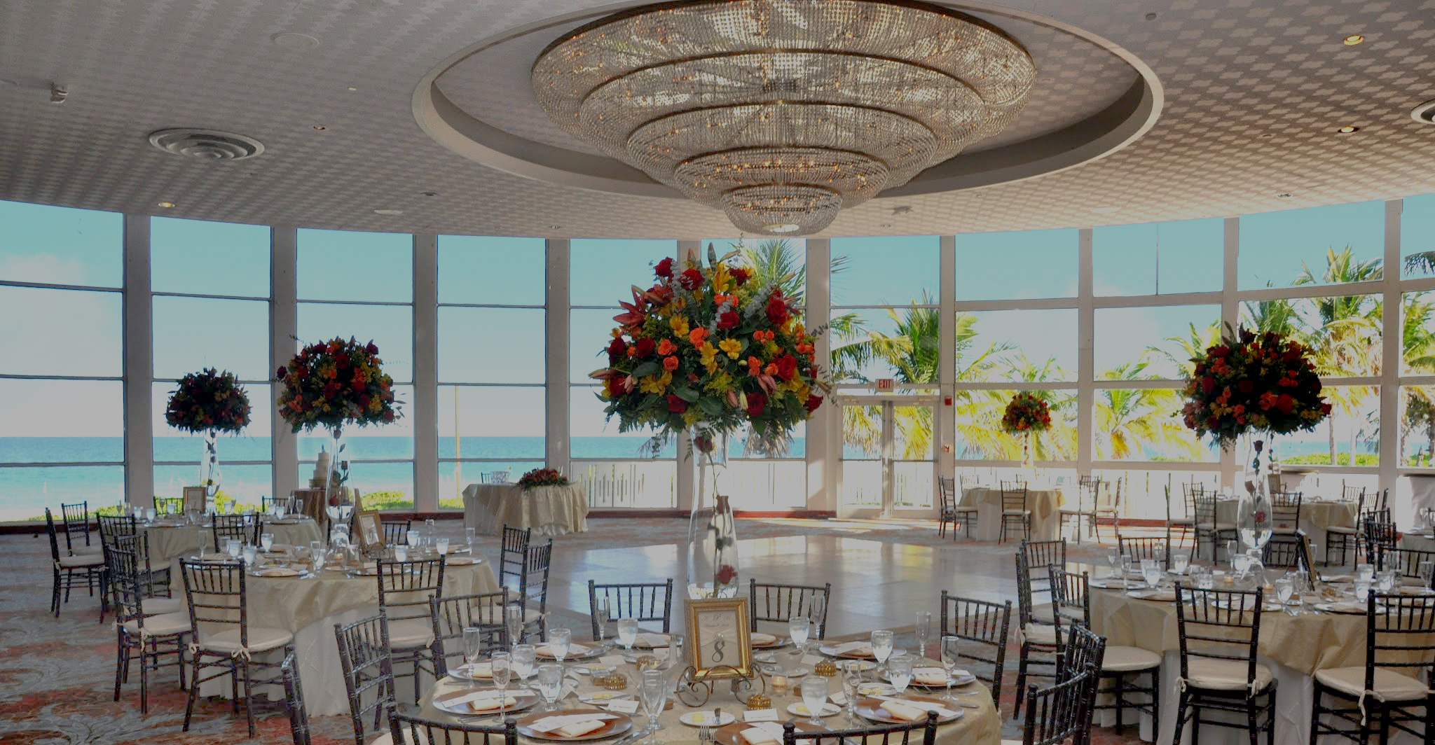 Wedding setting inside the Richelieu Ballroom at the Deauville Beach Resort