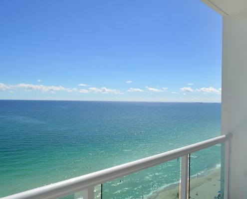 View of the balcony and miami Beach from inside one of the rooms of the Deauville Beach Resort
