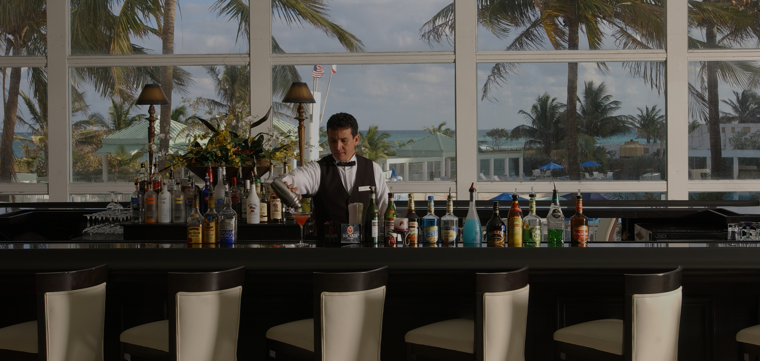 Doing drinks at the Deauville Beach Resort's Lobby Bar