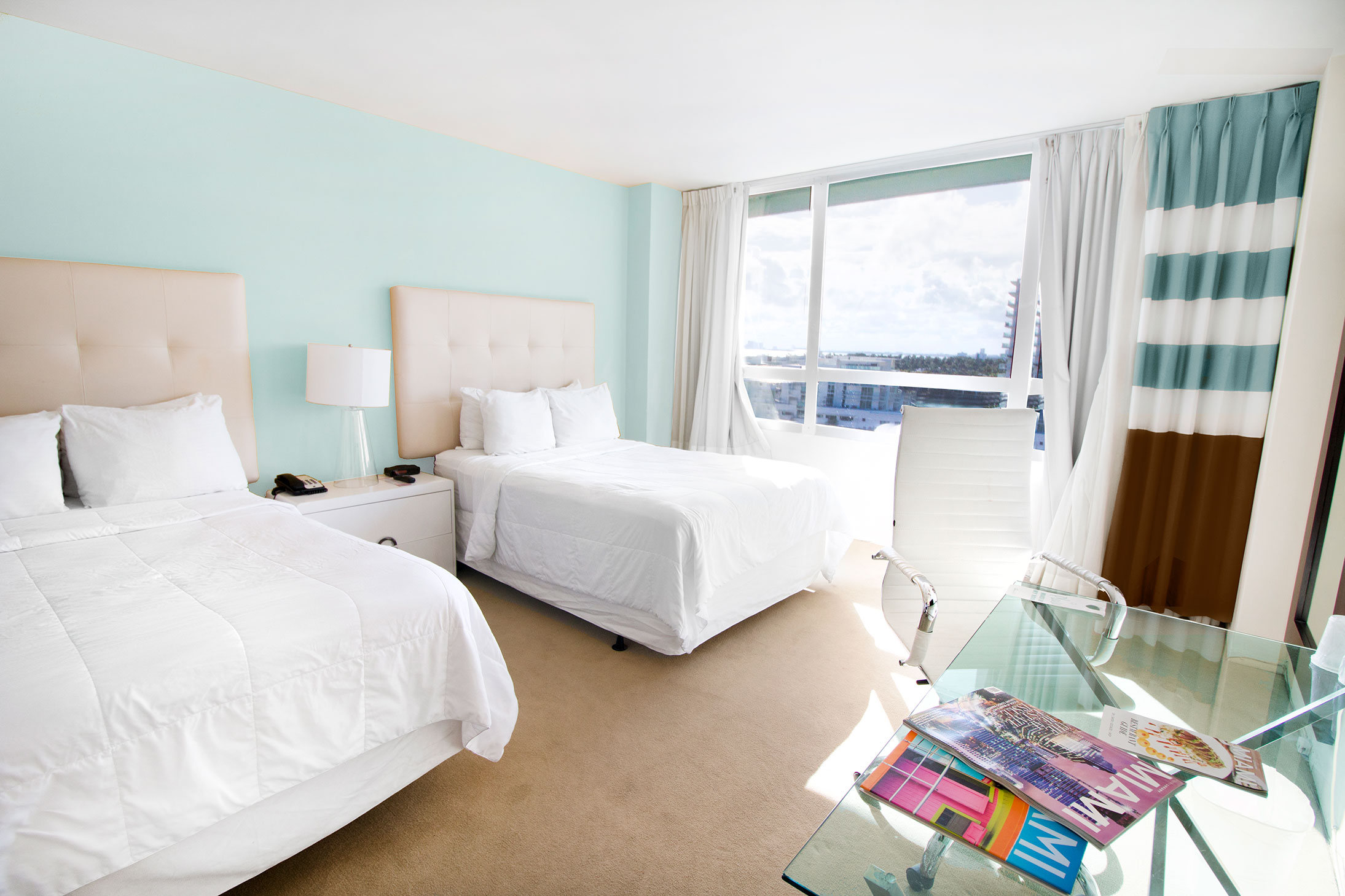 Deluxe city view 2 doubles room type at the Deauville Beach Resort