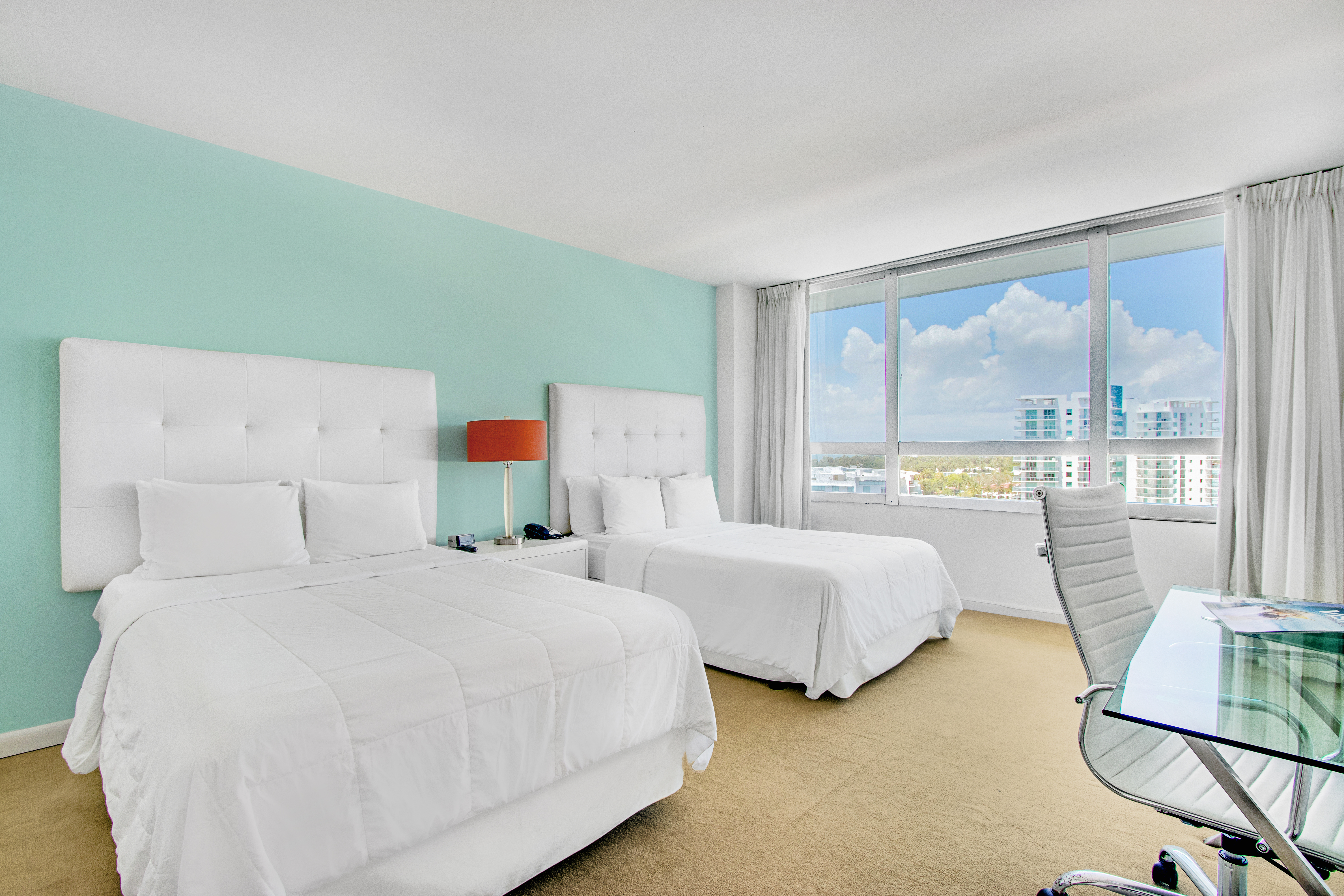 Deluxe city view 2 Double Beds room at the Deauville Beach Resort