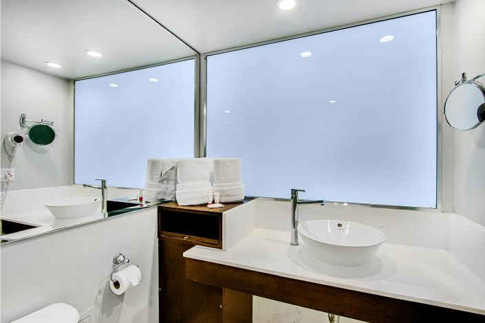 Bathroom of a room at the Deauville Beach Resort